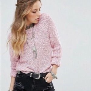 Free People Electric City Knit Sweater NWOT Pink